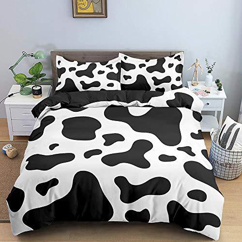Funda nórdica con Efecto de impresión 3D Color de la Vaca,El Juego de Cama de Microfibra de 180 x 200 cm es Suave y Transpirable,con Cierre de Cremallera y 2 Fundas de Almohada