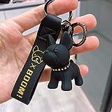 Porte-clés bouledogue français - Mode punk - En cuir synthétique - Pour femme - Pendentif - Bijoux pour homme - Pour voiture - Convient pour sac, sac, sac, sac, sac à dos
