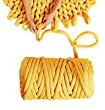 Arm Knit Yarn for Blanket, 3.5 lbs Hand Knitting, Jumbo Yarn, Chunky Knit Cotton Tube Yarn Super Soft Washable Bulky Giant Yarn for Extreme DIY (Yellow, 3.5 lbs / 70 Yards)