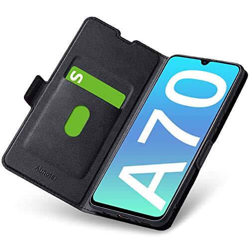 Aunote Samsung Galaxy A70 Hülle, Samsung A70 Schutzhülle mit Kartenfach, Handyhülle Tasche, Leder Etui Folio Flip Cover Case, PU TPU Klapphülle Komplettschutz Samsung A70 Phone 6.7 Zoll. Schwarz
