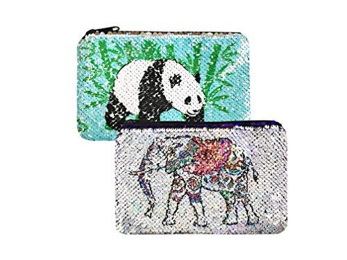 Sparkly Flip Sequin Pencil Pouch Pandas&Elephant Pattern Small Makeup Organizer Bag Purse
