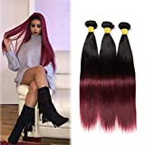 Volvetwig Tissage Ombre Hair Lisse Straight Weave Meche Bresilienne Hair Naturel 1B 99J Hair 3 Bundles Cheveux Humains Extensions 10 12 14 inches