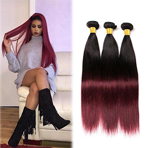 Human Hair Ombre Extensions Echthaar Virgin 3 Bundles Brazilian Straight Weave 8a Red und Black 300g Short for Women 10 12 14 inches