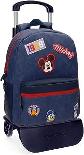 Mickey Parches Mochila con Carro Azul 32x42x12 cms Piel Sintética 19.2L