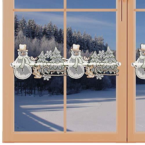 artex deko Winter-Feenhaus-Gardine Schneemann mit Schlitten Mini-Scheibengardine aus Echter Plauener Spitze