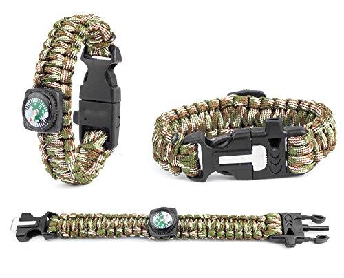 Inox Trade Einstellbares Paracord Survival Überlebens-Armband Survival Outdoor Paracord Armband mit Feuerstein Feuerstarter Pfeife und Kompass