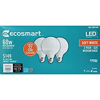 Ecosmart 60W Equivalent Soft White G25 Dimmable Frosted LED Light Bulbs Medium Base 3 Pack