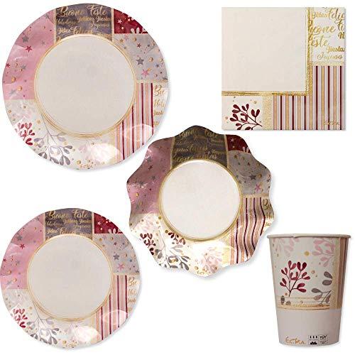 decorazioni natalizie rosa gold SET 52 PZ - COORDINATO tavolo NATALE - ROSE GOLD X-MAS - Kit Festa MONOUSO ideale per 8 Ospiti - addobbo decoro tavola NATALIZIO - servizio monouso natale