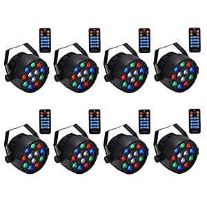 Stage Lights,SAHAUHY 12x1W LED RGB Dj Par Lights Sound Activated Remote DMX Control uplighting for Wedding Event Club Party (8 Packs)