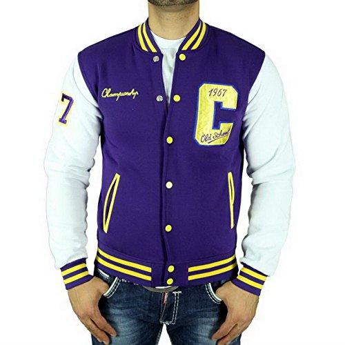 Cabeneli CABANELI Oldschool College Jacke Sweatjacke Pullover LILA - GELB, Größe:S