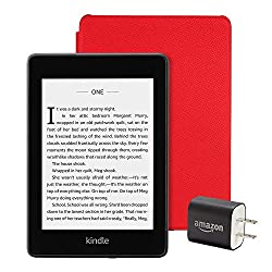 Image: Kindle Paperwhite Essentials Bundle including Kindle Paperwhite - Wifi with Special Offers, Amazon Leather Cover, and Power Adapter