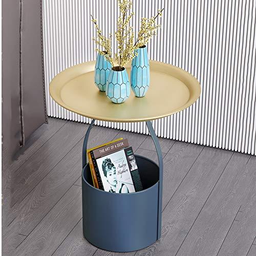 DWGYQ Simple Moderno Nórdico Esquina Mesa de Ocio 2 Niveles Redondo Metal Mesa de café Adecuado para Sala de Estar/Dormitorio/Oficina/sofá/mesita de Noche,M2