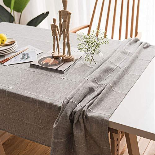 ZSWFGG Mantel de algodón y Lino Color Liso pequeño IKEA Mesa de café Lisa Rectangular Anti-escaldado Simple 135 * 160 cm