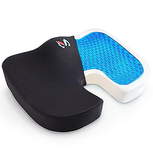 MICTUNING Cojín de Asiento con Capa de Gel, Cojín de Espuma Memoria Terapéutico Ortopédico para Sentarse Portátil para Alivio de Coxis, Espalda Inferior y Ciática de Oficina, Coche o Silla de Ruedas