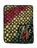 Earth Ragz One Love Rasta Pot Leaf Coral Fleece Throw Blanket