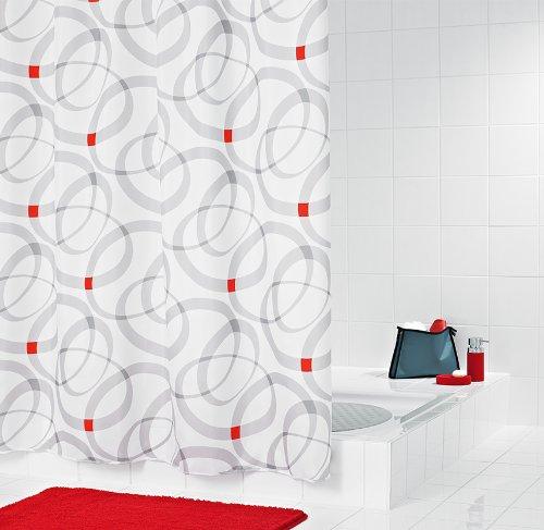 Ridder Bad Textil Duschvorhänge, Kette' Design, 180 X 200 cm, Weiß/Grau / Rot