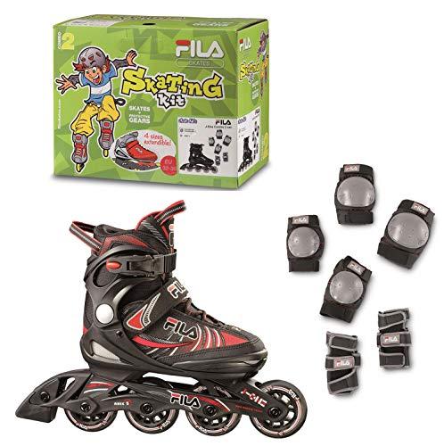 FILA Skates J-One Combo, Schlittschuhe und Protektoren, Unisex, Kinder, Schwarz/Rot, 32
