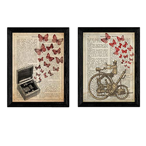 Pack de Dos láminas Vintage Caja de música y velocipedo co