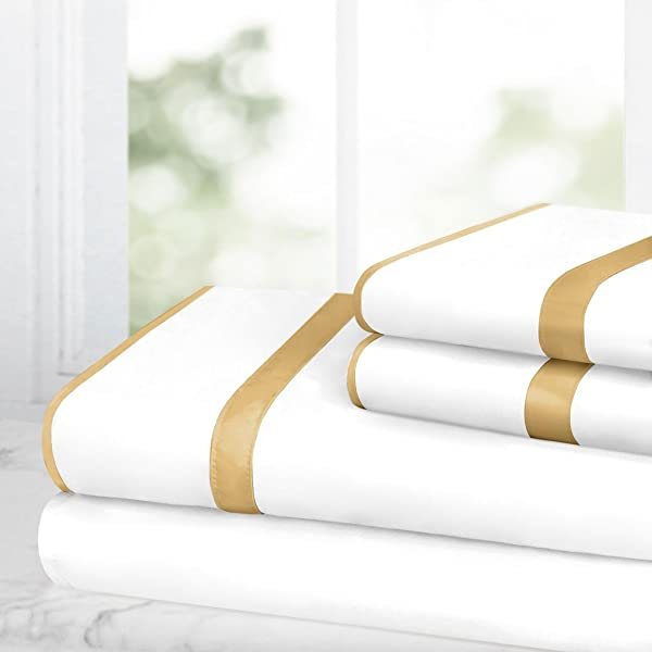 Egyptian Luxury Bed Sheet Set 1500 Hotel Collection W Beautiful Satin Band Trim Ultra Soft Wrinkle Fade Resistant Microfiber Hypoallergenic 4 Piece Set Queen White Gold
