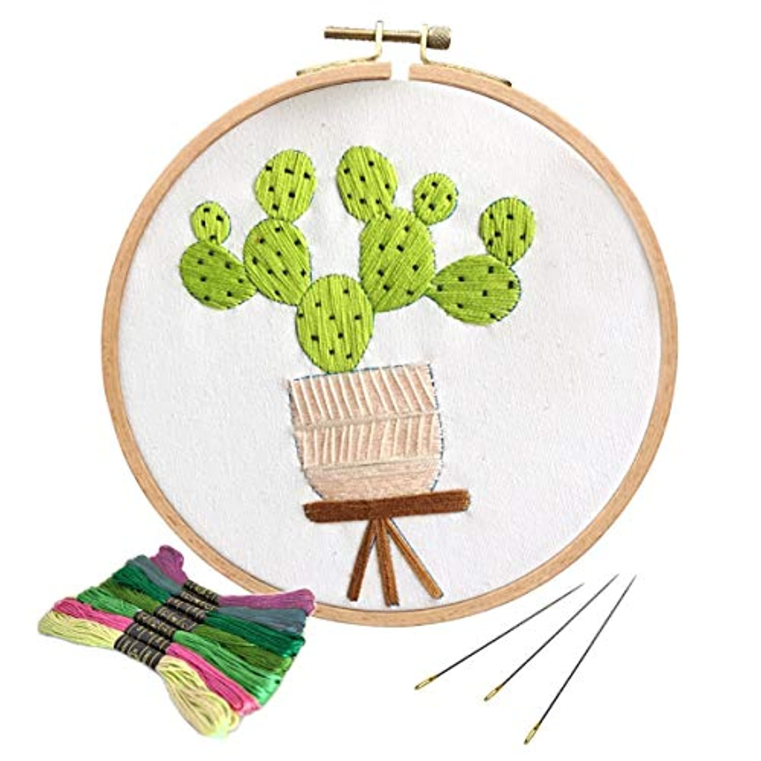Unime Full Range of Embroidery Starter Kit with Partten, Cross Stitch Kit Including Embroidery Cloth with Color Pattern, Bamboo Embroidery Hoop, Color Threads, and Tools Kit (Light Cactus) yckpsuhdceqrso