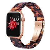 Wongeto Resin Strap Compatible with Apple Watch Band 42mm 44mm Series 6 SE/5/4/3/2/1 Women Men with Stainless Steel Buckle, iWatch Replacement Wristband Strap (Rose Gold+Tortoise, 42mm/44mm)