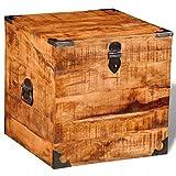 vidaXL Aufbewahrungstruhe Holz Truhe Quadratisch Raues Mangoholz