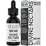 Hemp Oil Drops by Divine Nectars Organic Hemp Oil 500mg Hemp Oil for Pain Relief Stress Relief Mood Support Anxiety Relief Joint Pain Relief MCT Oil Natural Premium Hemp Extract Omega 3 6 9