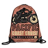 Drawstring Backpack Sports Gym Bag for Women Men, D0094 Pacific Coast Cruise...