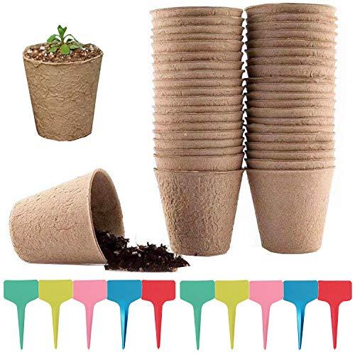 Liuer 50PCS Semilleros de Germinacion invernadero Semilleros Biodegradables Redondo Macetas Pequeñas para Semillas de Hierbas Flores Vegetales Plantas(8CM)