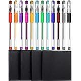 4 Pezzi Note Appiccicose Nere Blocco Note Autoadesive per Appunti con 12 Colori Penne con Glitter per Ufficio, Scuola, Casa