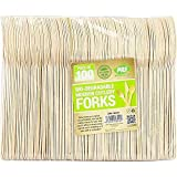 100 x Enviro Wooden Forks - Biodegradable Compostable Disposable Cutlery 100% Birchwood