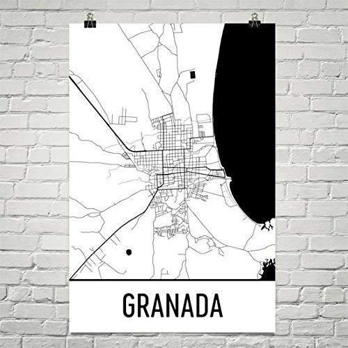 Modern Map Art Mapa de Granada, camino de Granada, Granada presión 12