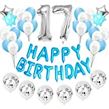 Feelairy 17 año Cumpleaños Globos de Decoración Kit Azul, Happy Birthday Banner Globo Carta, Globos de Papel Aluminio Gigante Número 17 y Estrella Globos, Cumpleaños 17 para Adolescentes Niños