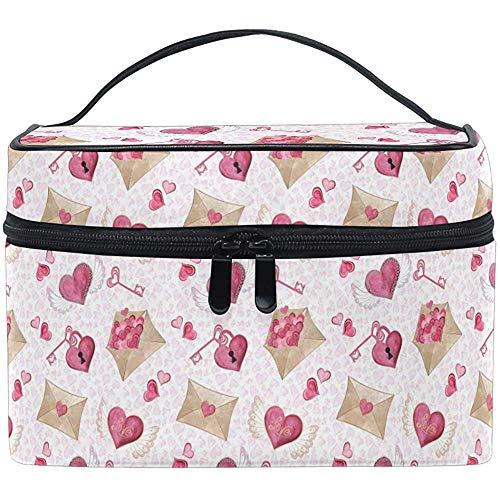 Rose Sac de Maquillage Amour flèches enveloppe Sac cosmétique Trousse de Toilette Portable Zip Brosse Sac Organisateur de Stockage