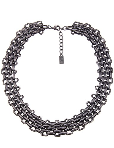 Leslii Damen Kette kurz Halskette Collier mehrreihig massiv, Panzerkette in Schwarz Metall, Rock, Modeschmuck
