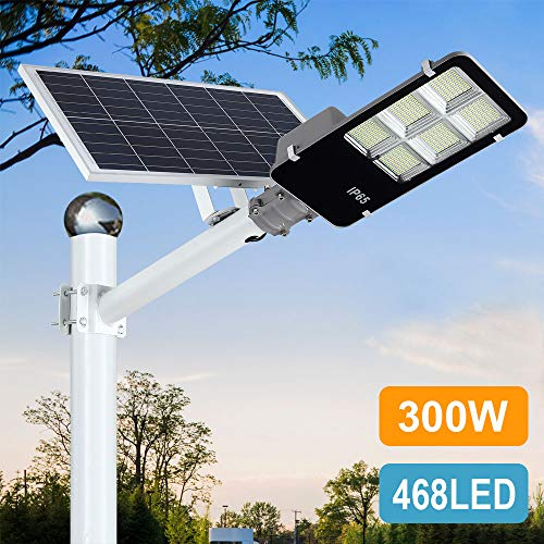 300W LED Solar Street Lights Outdoor, Dusk to Dawn Security Flood Light with Remote Control & Pole, Wireless, Waterproof, Perfect for Yard, Parking lot, Street, Garden and Garage