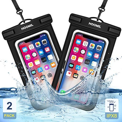 HOOMIL wasserdichte Handyhülle, Universal Wasserdicht Handytasche Unterwasser IPX8 Wasserfeste Handy Hülle für Samsung Galaxy A51/A71/M31/A20e - Schwarz & Schwarz