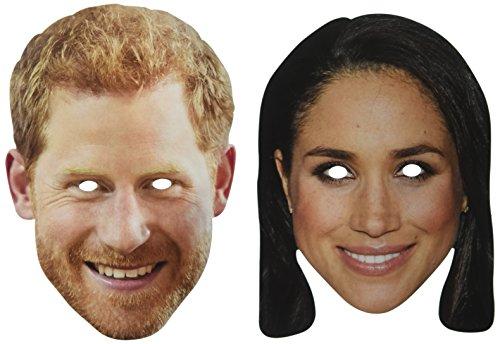 Máscara de boda Harry y Meghan 1D de cartón con agujeros en...
