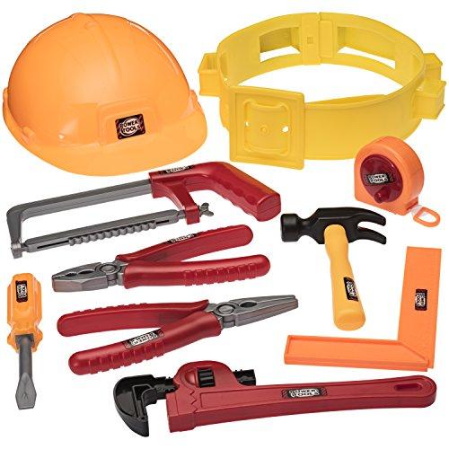 PREXTEX Werkzeuggürtelset für kleine Handwerker, Set mit Accessoires, wie Maßband und Schutzhelm Jungen