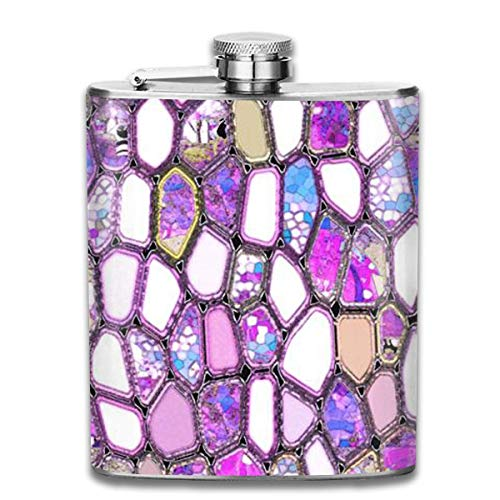 Presock Petacas,VIOLET CELLS 7 Oz Printed Stainless Steel Hip Flask For Drinking Liquor E.g. Whiskey, Rum, Scotch, Vodka Rust Great Gift
