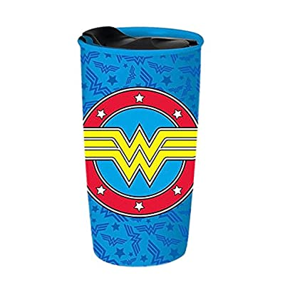 Wonder Woman Logo Porcelain To Go Mug With Lid