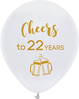 White cheers to 22 years latex balloons, 12inch (16pcs) 22th birthday decorations party supplies for man and woman