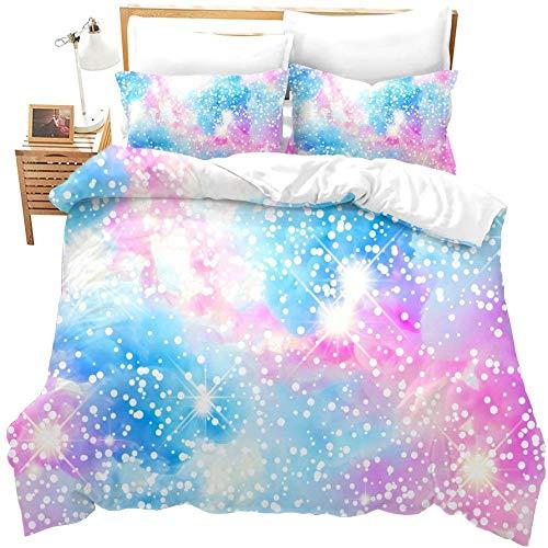 zzkds Fantasy Girly Bedding Set taiveBlue Purple Pastel Colors FundanórdicaparaCute Bling Galaxy Print ColchasFunda de edredón para Colorido Brillante