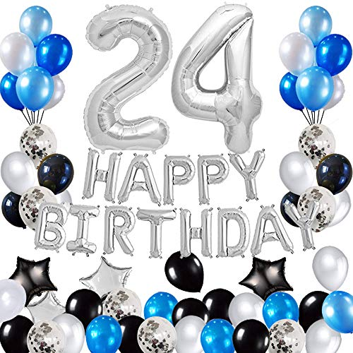 Risehy 24th Birthday Decorations Birthday Party Supplies Set- Foil Happy Birthday Banner Foil Balloons Number 24 and Star Shape Balloons 47 pcs Latex Balloons Silvery and Blue
