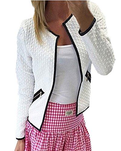 ZANZEA Blazer Femme Veste Chic Manches Longues Ouvert Slim Cardigan Casual Blouson Coat Printemps B Blanc S