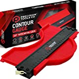 Contour Gauge Duplicator Tool - 10 Inch with Metal Lock. The Perfect Home Handyman Tool to Copy Irregular Profiles & Edges with Precision & Ease. Save Time & Do A Great Job! A Must Have! Awesome Gift!