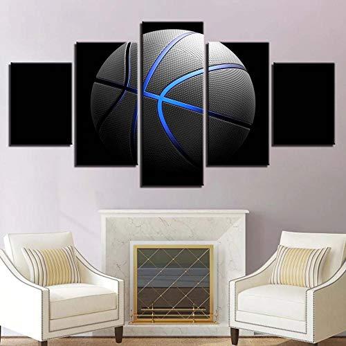 STDJ Decoración De Pared 5 Piezas Basketball Sports Poster Cuadros En Lienzo Abstracto Colorido HD Impresión Cuadro Murales Pared Hogar Deco