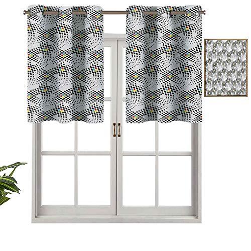 Hiiiman Diseño de moda cenefa térmica aislada ventana panel tradicional lunares contraste esquema diferentes diseños de círculo, juego de 2, 42 x 24 pulgadas para habitación de los niños