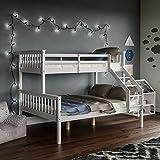 Vida Designs Milan Triple Bunk Bed, Three Sleeper, Solid Pine Wood Frame, Kids Children, Double 4 Foot 6, Single 3 Foot, White
