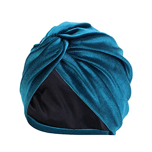 Yue668 Punta de pañuelo con pompón para el Frente de las Mujeres, gorro de pelo de gorro, para cáncer, gorro de turban, para mujer, manta de pañuelo